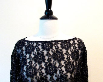 Vintage Black Lace Top, Halston III Sheer Blouse, Long Sleeve Evening Wear