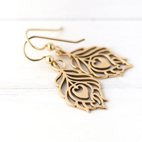 Gold Peacock Feather Earrings / Bronze Metal Feather Cutouts on 14k Gold Filled Ear Wires