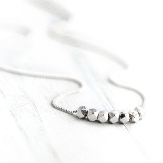 Silver Nuggets Necklace / Simple Minimalist Sterling Silver Necklace / Modern Everyday Jewelry by burnish