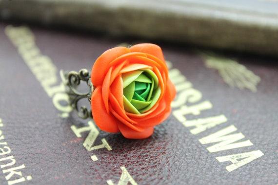 Orange and Green flower Ranunculus ring, free shipping