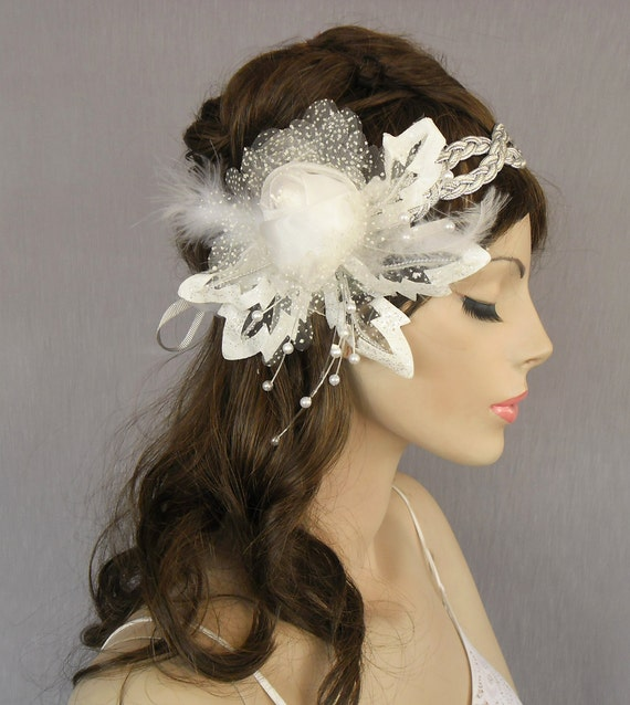 Fancy bridal fascinator, silver braided headband accented with organza rose, glittered leaves, unique item