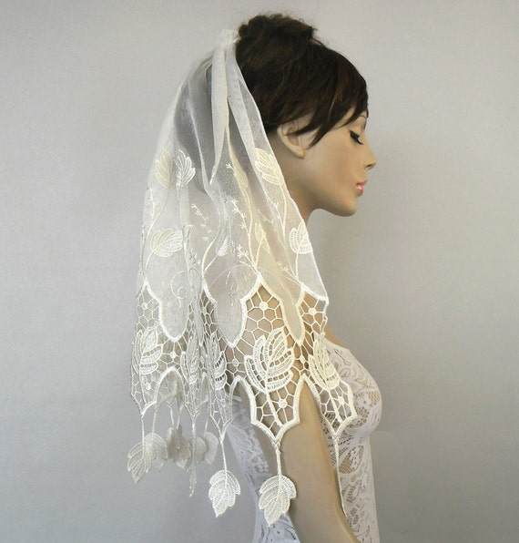 Waist length bridal tulle veil, silver sequined, embroidered, handmade