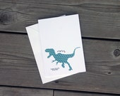 Dinosaur Greeting Card Rawrrr Means I Love You in Dinosaur- Teal Hexagon Shape Pattern Geometric T-Rex with Red Heart Anniversary