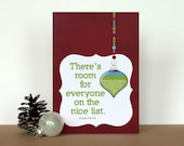 Funny Christmas Greeting Card Typography Room for Everyone on the Nice List Dark Red Burgundy Ornament Holiday