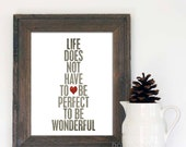 Typographic Poster Wonderful Life Digital Typography Art Print Gray Red Heart