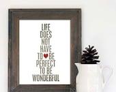 Typographic Poster Wonderful Life Digital Typography Art Print Gray Red Heart