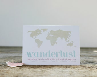 Wanderlust Map Greeting Card - Travel Holiday Vacation Love - Pale Pastel Pink Blue Beige WhiteValentines Day