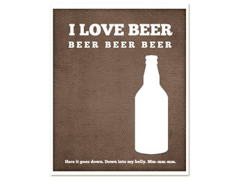 Digital Art Print Typography Poster I Love Beer - Beer Bar Print - Brew Beer Home Decor Modern Art Print Brown