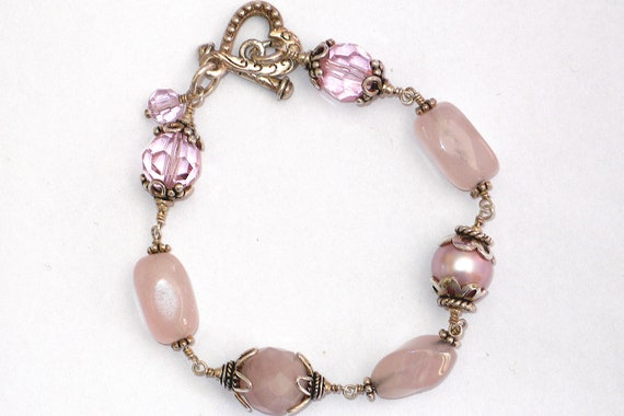 Pink Rose Quartz, Glass Pearl and Quartz Dazzler Bracelet