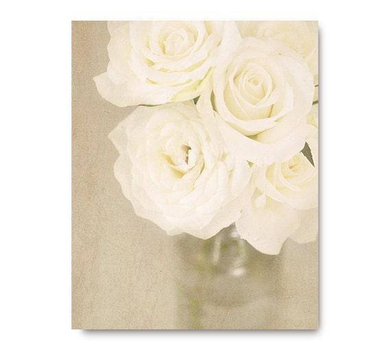 Rose Photo, flower photography, ivory, shabby chic, home decor, wedding, soft, still life, sage green linen antique beige, valentines day
