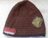 Brown Slouche Beanie with Guitars, Music Notes & small Piano keys Applique'