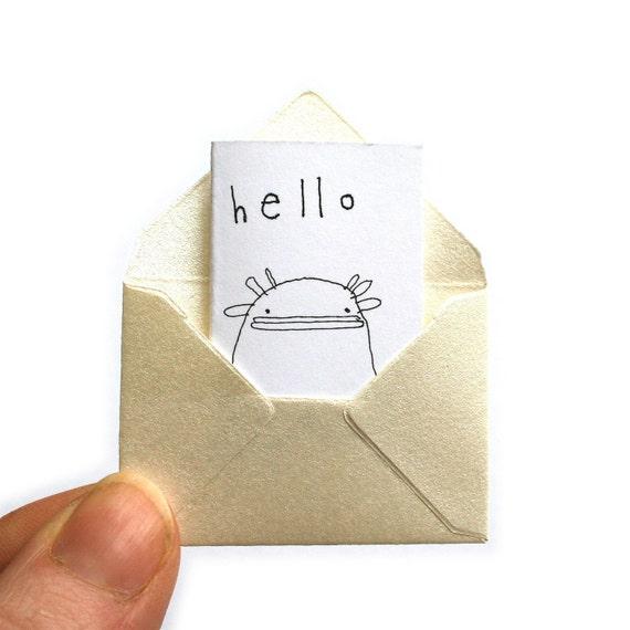 Miniature Greeting Card & Tiny Envelope - Hello