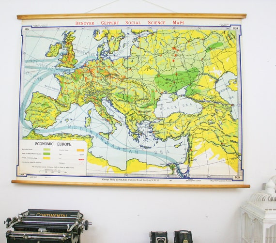 Vintage Economic Europe Pull Down Map School Chart Denoyer