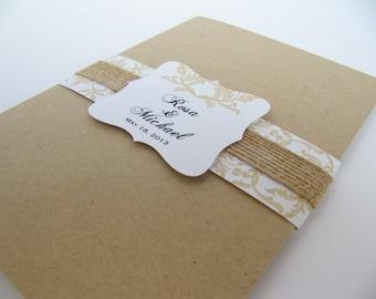 Rustic Wedding Invitation, Kraft Beige Wedding invitation - Sample