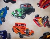 Classic Hot Rods Cars Cream Cotton Fabric Fat Quarter or Custom Listing