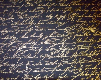 Vintage Scribe Writing Black Metallic Gold Cotton Fabirc Fat Quarter or Custom Listing
