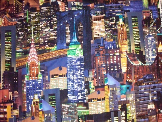 NYC New York City Glitter Lights Color White Cotton Fabric