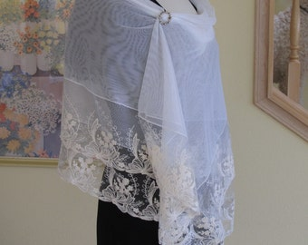 lace shawl, wrap, bridal shawl, wedding shawl, ivory lace shawl