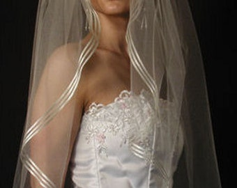 "wedding veil, bridal veil fingertip length 42"" long with satin ribbon edging"