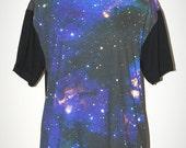 Star Cluster Universe Black  Photo Transfer Punk Rock T-Shirt Size L