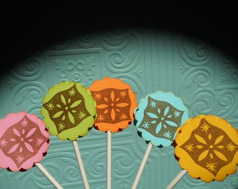 Fiesta Topper Mexican Cupcake Toppers fiesta decoration Cinco de Mayo Mexican party papel Picado Donkey Party set of 10