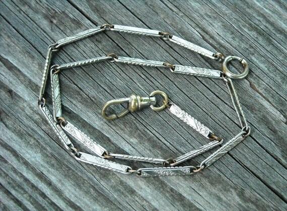 Vintage Victorian Ornate Silver Link Watch Chain