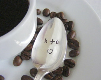 Love coffee spoon with heart stamp