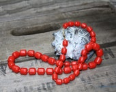 Cherry Red Necklace 1950s or 1960s Retro Mad Men Style with Plastic Beads Vintage Mid Century Fashion