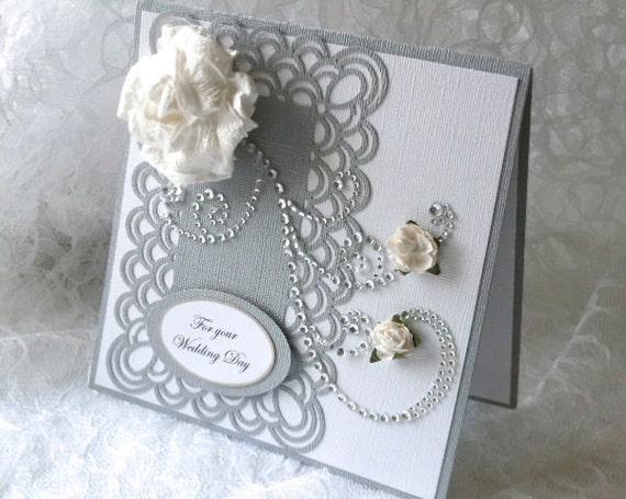 Elegant Wedding Card , silver & white , rhinestone flourish, white rose