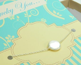 Dainty Penny Pearl Bracelet,  Sterling Silver, Bridesmaid