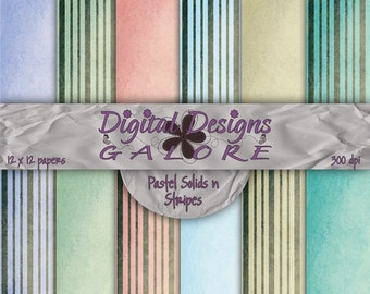 Pastel Solids n Stripes Digital Paper Pack Set of 12 - Commercial and Personal Use - Digital Designs Galore