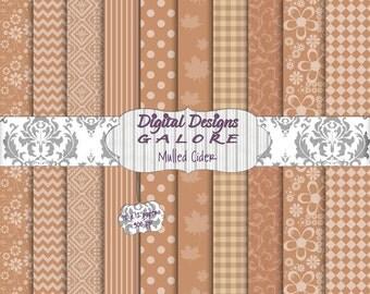 Mulled Cider Digital Paper Pack Set of 10 - Tan Brown Cider 12 x 12 Digital Papers - Digital Designs Galore