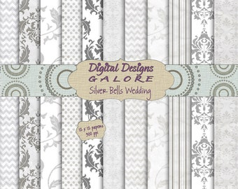 Silver Bells Wedding Digital Paper Pack Set of 11 - Commercial and Personal Use - Digital Designs Galore