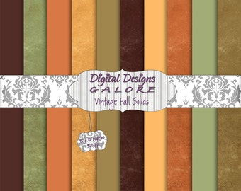 Vintage Fall Solids Digital Paper Pack Set of 10 - Brown, Green, Orange 12 x 12 Digital Papers - Digital Designs Galore