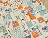Linen Cotton Blended Fabric - Lovely Girl And Cat (green & orange)- Fat Quarter(27in x 19in) - LF340