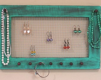 Jewelry Holder Earring Organizer Jewelry Frame Vintage Brown Green Turquoise  Framed Jewelry Holder Earrings Necklaces Knob