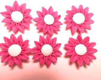 6 Fimo Polymer Clay White Fuschia  Sunflower Flower Fimo Beads 30mm