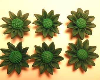 6 Fimo Polymer Clay Dark Green  Sunflower Flower Fimo Beads 30mm