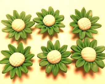 6 Fimo Polymer Clay Green Yellow  Sunflower Flower Fimo Beads 30mm