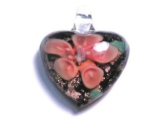 New Large Heart flower Glass Pendant 35mm Red