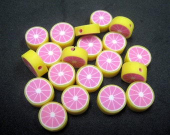 20 Fimo Polymer Clay Fruit Round Beads 10mm Yellow Pink