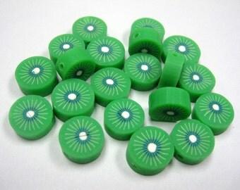 20 Fimo Polymer Clay Fruit Beads 10mm Green Kiwi