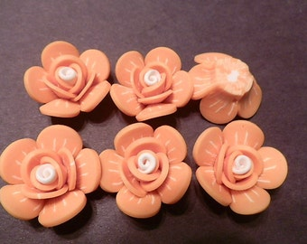 6 Fimo Polymer Clay Orange White Flower Rose Fimo Beads 25mm