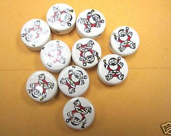 New 20 Christmas Santa Claus Ceramic Round Beads