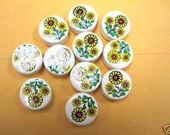 20 Ceramic Sunflowers Flowers Round Beads