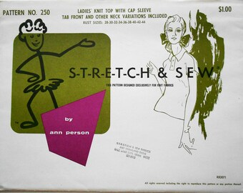 Stretch and Sew Sewing Pattern 250 Ladies' Knit Top with Cap Sleeve