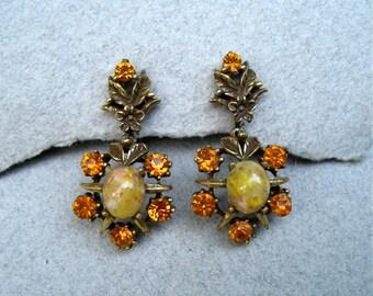Vintage Coro Dangle Earrings Topaz Rhinestone Cream Confetti Lucite Floral