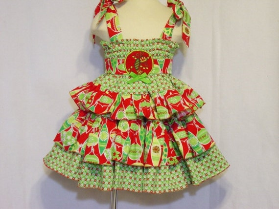 Christmas Holiday Shabby Chic Baby Girl Outfit Toddler Dress 2T / 3T Handmade Boutique Children Clothing  Smock Top Twirl Skirt Kids Clothes