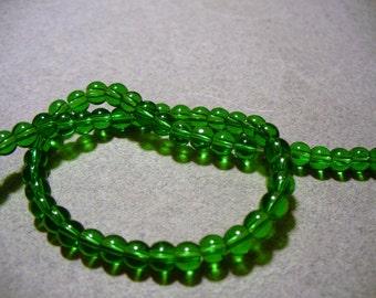 Glass Beads Green  Round 4mm