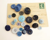 Lovely Blue Vintage Button Collection - Vintage Buttons - Button Lot - Sewing Supplies - Retro - Navy Button